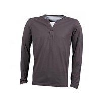 James & Nicholson Men's Henley Shirt Long-Sleeved JN917